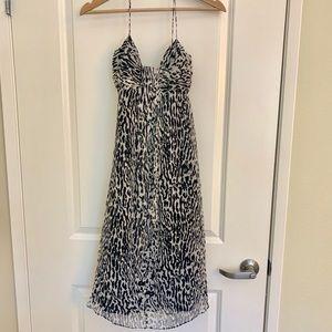 Banana Republic Black White Leopard Silk Dress